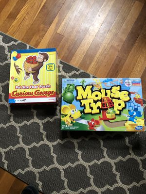 Mouse trap game and curious George puzzle. All pieces included for Sale in Ridgewood, NJ