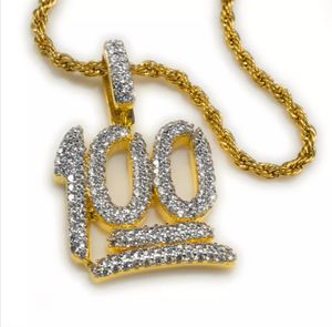 18K Gold Plated Out Iced 100 Emoji Pendant One Hundred Simulated CZ Rope Chain for Sale in Los Angeles, CA