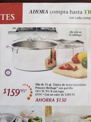 Princess House Stainless Steel Classic 15 Qt. Stockpot With Steaming Rack - NEW for Sale in Bloomington, CA
