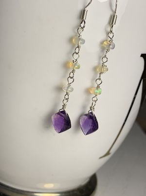 Amethyst Opal Gemstone Crystals Sterling Earrings for Sale in King of Prussia, PA