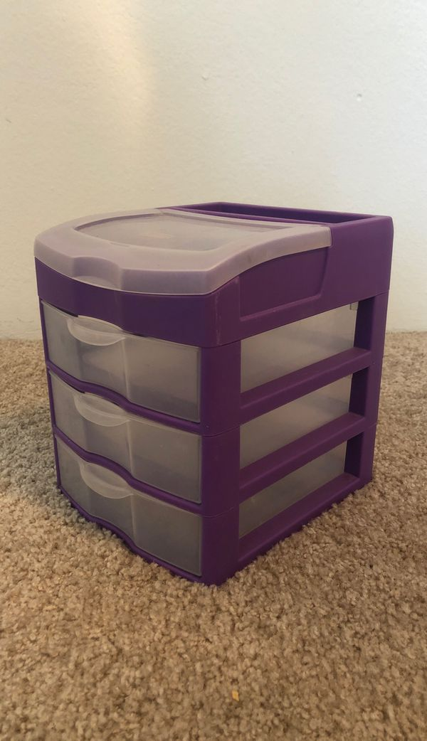 mini plastic storage drawers - small, purple, desk-sized