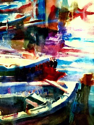 """Local art. """"The color of boats"""". Watercolor. for Sale in Hayden, ID"""