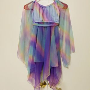Girls Rainbow Chiffon Tulle Dress Dance Wear Costume Fairy Unicorn Child 4/6 for Sale in Moses Lake, WA