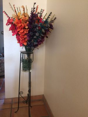 Tall metal plant stand with vase and flowers for Sale in Paradise Valley, AZ