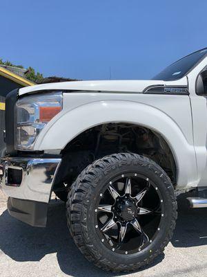 "Brand new complete set 20"" Black Rims and New tires 20 Wheels 20s Rines negros y llantas 8 Lug Ford Super duty F250 F350 Dodge ram Chevy Silverado H2 for Sale in Dallas, TX"