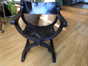 Pair of Antique Wood + Leather Chairs for Sale in Chicago, IL