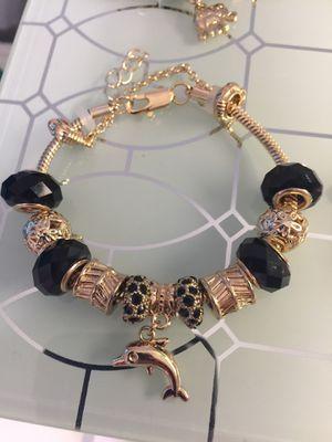 18k GPL Charm Bracelet With Black Crystals for Sale in Nashville, TN