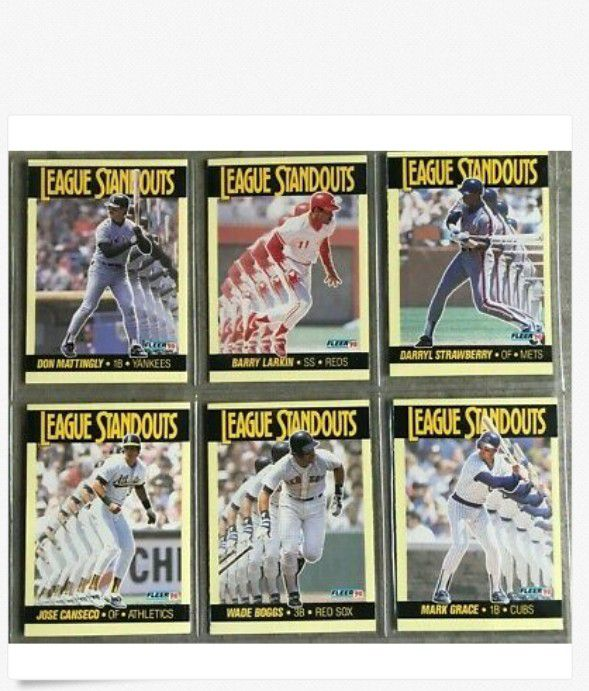 1990 Fleer Baseball League Standouts Set (6) Mattingly, Larkin, Boggs, Canseco
