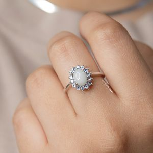 Opal ring with Tanzanite Halo Silver Ring for Sale in Dulles, VA