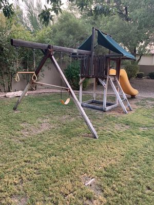 Wood play swing set for Sale in Phoenix, AZ