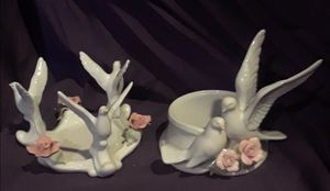 Two Pink Roses/Doves Y.H. Porcelain Candle Holders for Sale in St. Louis, MO