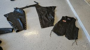 Motorcycle jackets and chaps with vest. for Sale in Cedar Park, TX