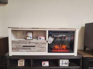 Fireplace TV Stand with Fireplace Insert, Whitewash for Sale in Midway City, CA