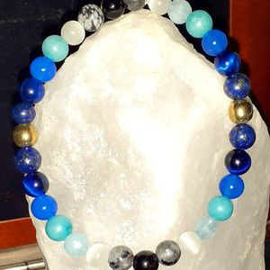 Gorgeous Blue Gemstone Natural crystal beaded jewelry bracelet for Sale in Hazel Park, MI