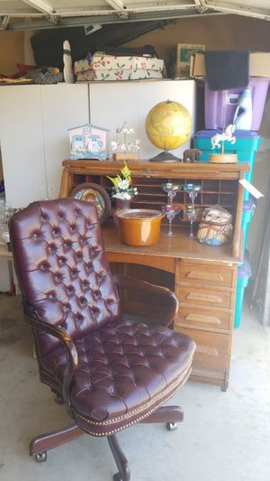 Antique rolltop desk with chair for Sale in Morgan Hill, CA