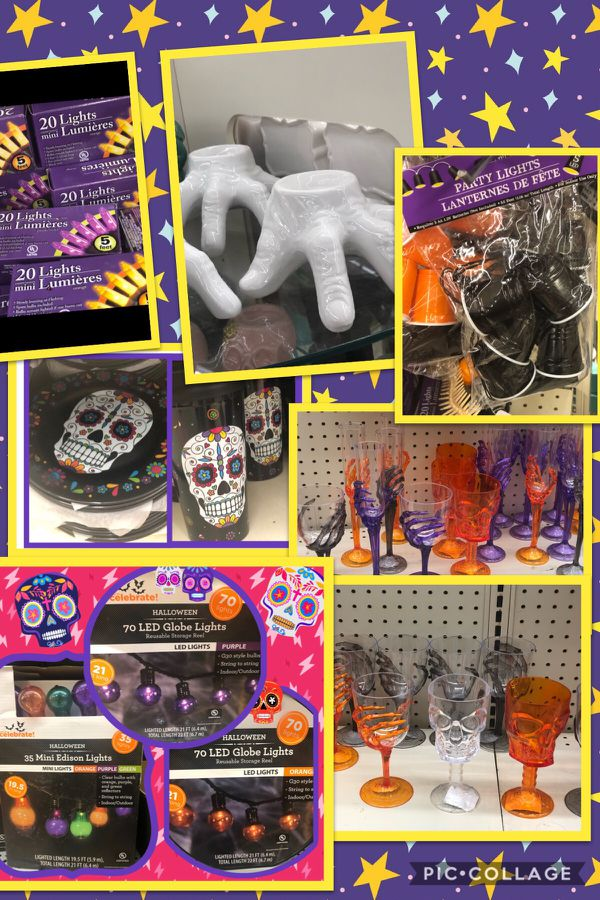 NEW Halloween Decor- String Lights, Skeleton Cups, Plates, Hand Candle Holders, etc.