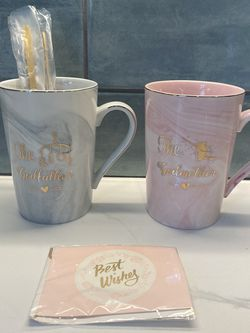 Present of Star Godfather & Godmother Ceramic Marble Mugs for Sale in Murrieta,  CA