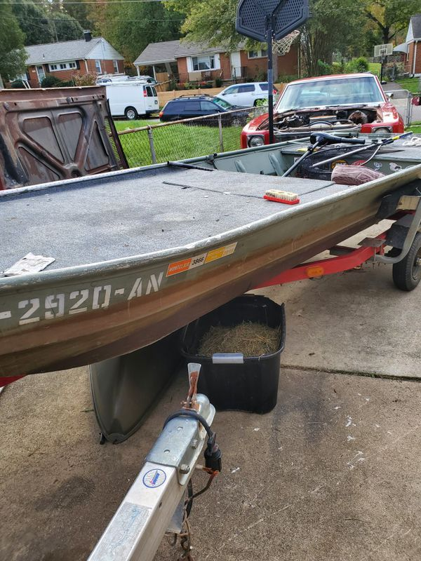 14 ft jon boat with trailer 9.9 hp