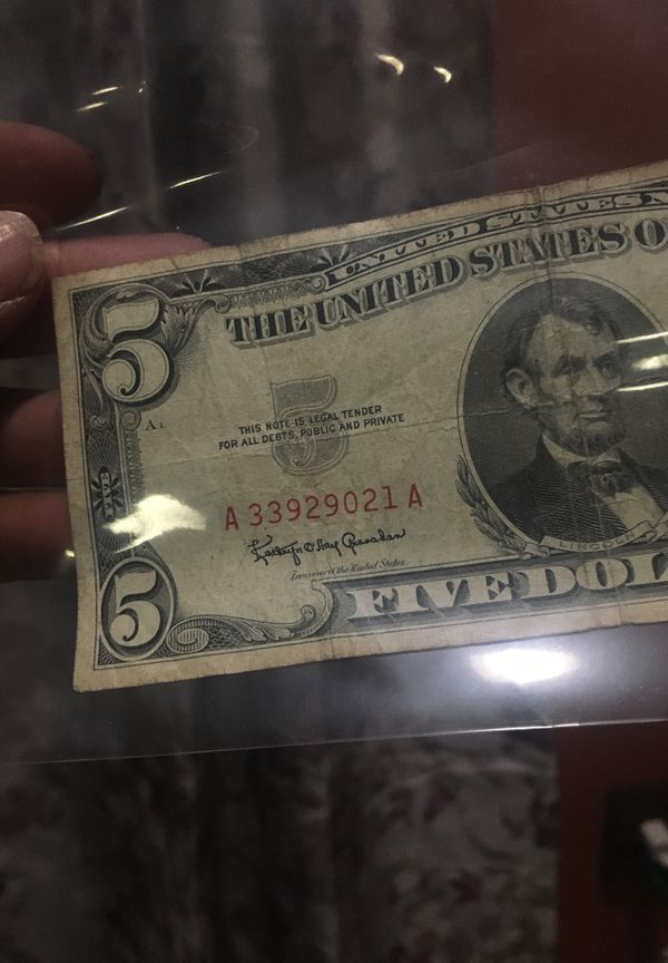 Five dollar bill, red note from 1963