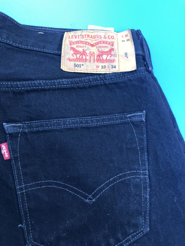 Mens levis 501 button fly jeans size 33x34