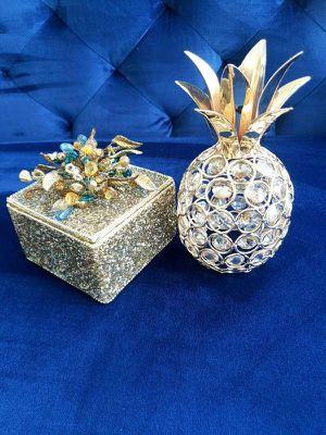 Glam Hollywood Regency Decor- Glitter Decor Box & Crystal Rhinestone Pineapple for Sale in Federal Way, WA
