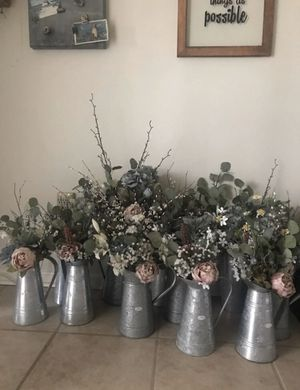 Faux Flowers In Galvanized Metal Pitcher for Sale in Minneapolis, MN