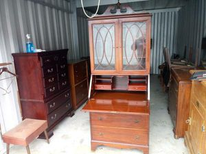 Vintage 1940's Flame Mahogany Secretary w/Original Key for Sale in Raleigh, NC