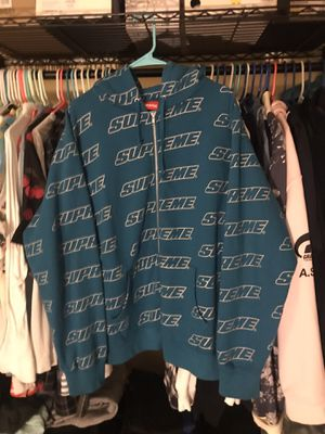 Supreme teal repeat logo zip up sweater size (large) for Sale in Silver Spring, MD