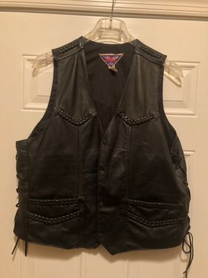 Leather MOB Motorcycle Vest & leather skull cap for Sale in Murfreesboro, TN