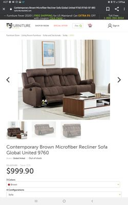 Microfiber Brown Recliner Sofa for Sale in Streetsboro,  OH