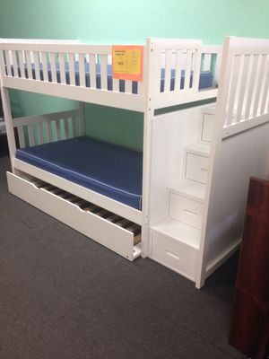 Twin stairway bunk bed with trundle. Color choice for Sale in Glendale, AZ
