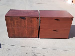 Great deal!!! 2 Excellent cherry 2 drawer lateral file cabinets!! for Sale in Santa Ana, CA
