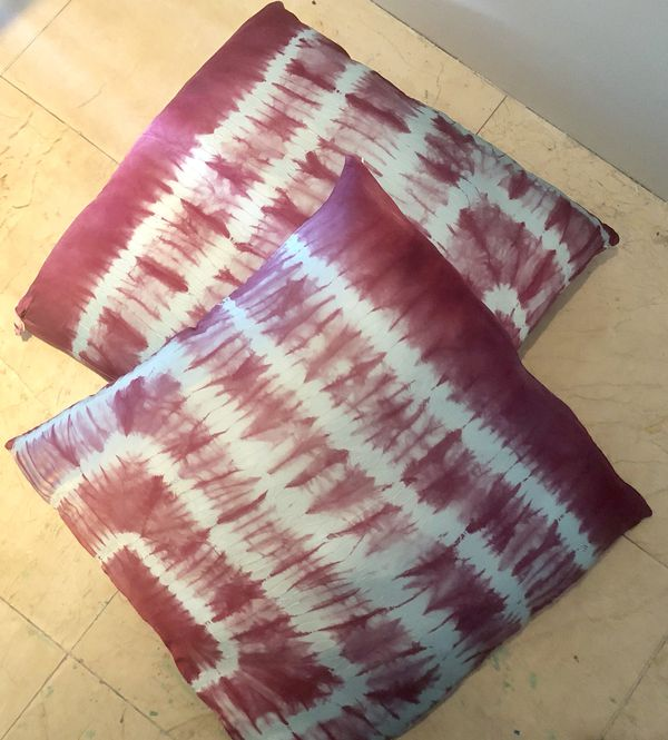 "Tie dyed Silk Pillow Covers 25""x25"" set of 2"