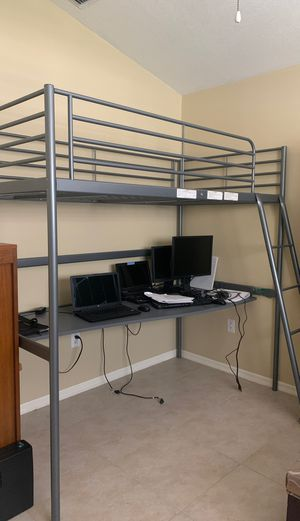 IKEA Twin loft bed over desk for Sale in Tampa, FL