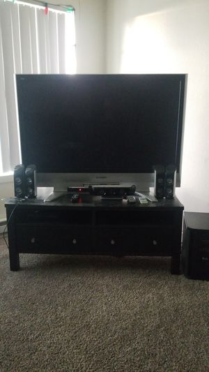 "50"" tv with stand converter box digital antenna DVD player 5 speaker sound system for Sale in Portland, OR"