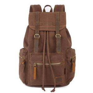 Men Women Vintage Army Canvas Backpack Rucksack School Satchel Travel Hiking Bag Coffee(rucksaktravel-coffee-USA) for Sale in Riverside, CA
