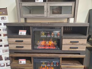 Fireplace TV Stand with Fireplace Insert, Black & Grey for Sale in Huntington Beach, CA