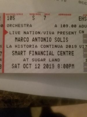 Tickets Marco Antonio solis for Sale in Humble, TX