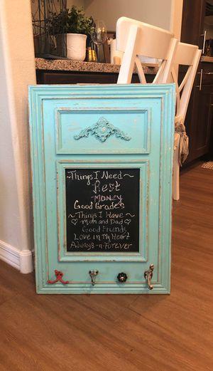 Light blue chalk board sign with hooks for Sale in Scottsdale, AZ