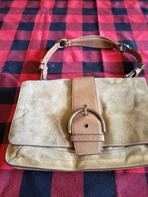 COACH Brown Sued Portfolio Hand bag. for Sale in Covington, WA