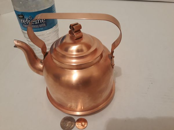 "Vintage Metal Copper Tea Pot, Tea Kettle, Teapot, Made in Sweden, Quality Copper, Kitchen Decor, Hanging Display, Shelf Display, Use it, 6"" x 6"""