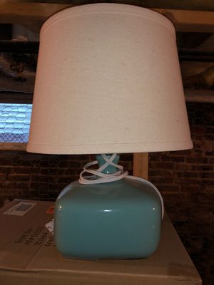 Light blue/green lamp, excellent condition and really cute for Sale in Somerville, MA