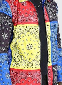 Mens Multicolor Bandana Print Jacket (Brand New) for Sale in Jacksonville,  FL