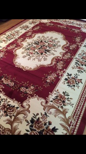 New floral rug large size 8x11 nice red burgundy carpet abusson Persian design rugs for Sale in Falls Church, VA