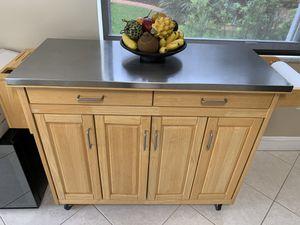 Wood Stainless Steel Rolling Kitchen Island Utility Storage Cart for Sale in Miramar, FL