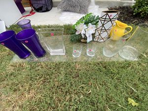Flower Vases / glass table top for Sale in Dallas, TX