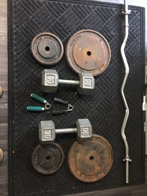 Dumbbell weights and arm curl for Sale in Elk Grove Village, IL