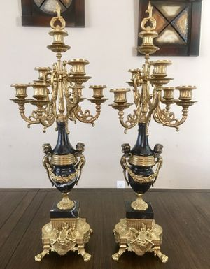 Authentic Black Marble Bronze Candelabra Set Of Two Italian Italy Rare Vintage for Sale in North Las Vegas, NV