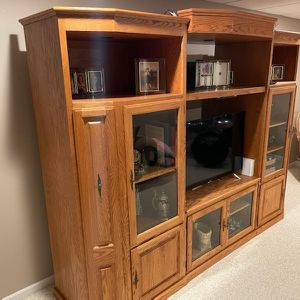 Solid Oak Entertainment Center for Sale in Oswego, IL