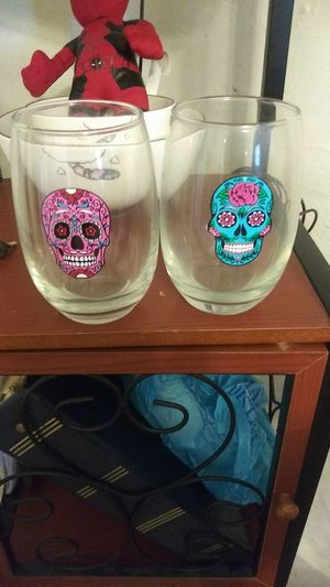 Day of the dead Sugar Skull 14oz glasses for Sale in Brentwood, PA